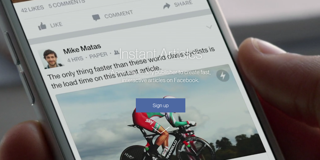 official website of Facebook Instant Articles